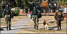 Soldiers patroling with dog