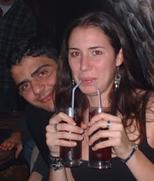 Picture of an underage male and female consuming alcohol.